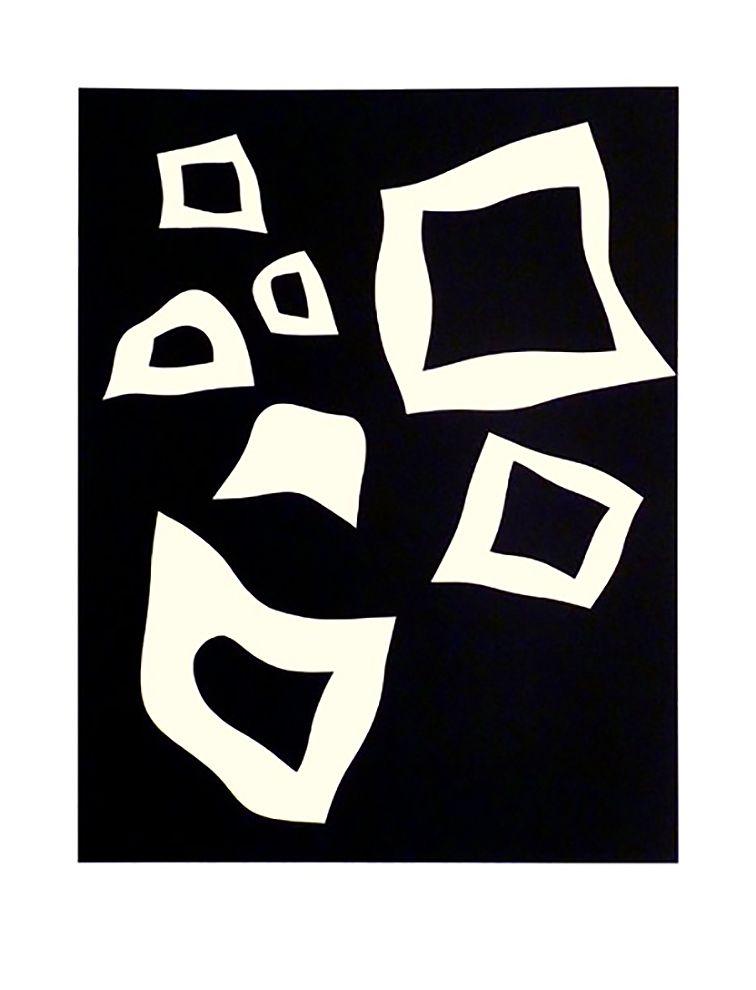 Lithograph Arp - CONSTELLATION 7 BLANCHES SUR NOIR (1960).