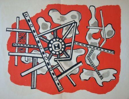 Lithograph Leger - Construction sur fond rouge