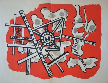 Lithograph Leger - Construction sur fond rouge