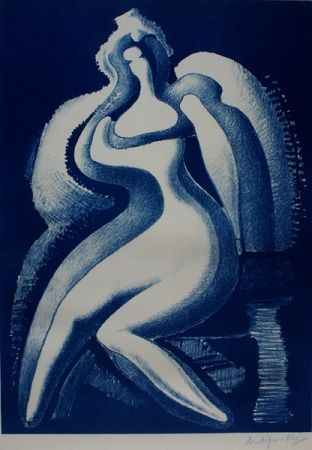 Lithograph Archipenko - Coquette (Blue Nude)