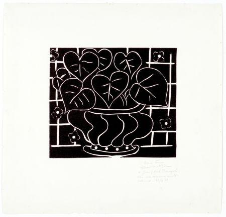 Linocut Matisse - Corbeille de bégonias I