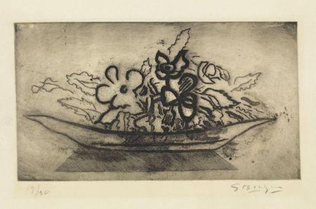 Aquatint Braque - Corbeille de fleurs