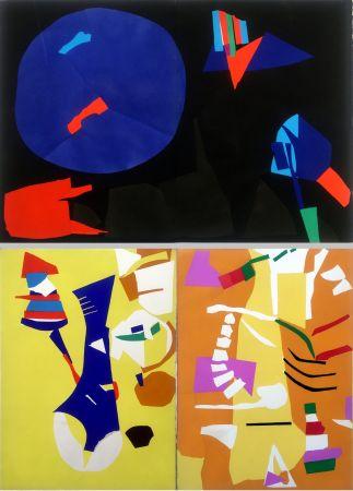 Pochoir Lanskoy - CORTÈGE. Pochoirs originaux n° 11, 12 double et n°13 (1959)