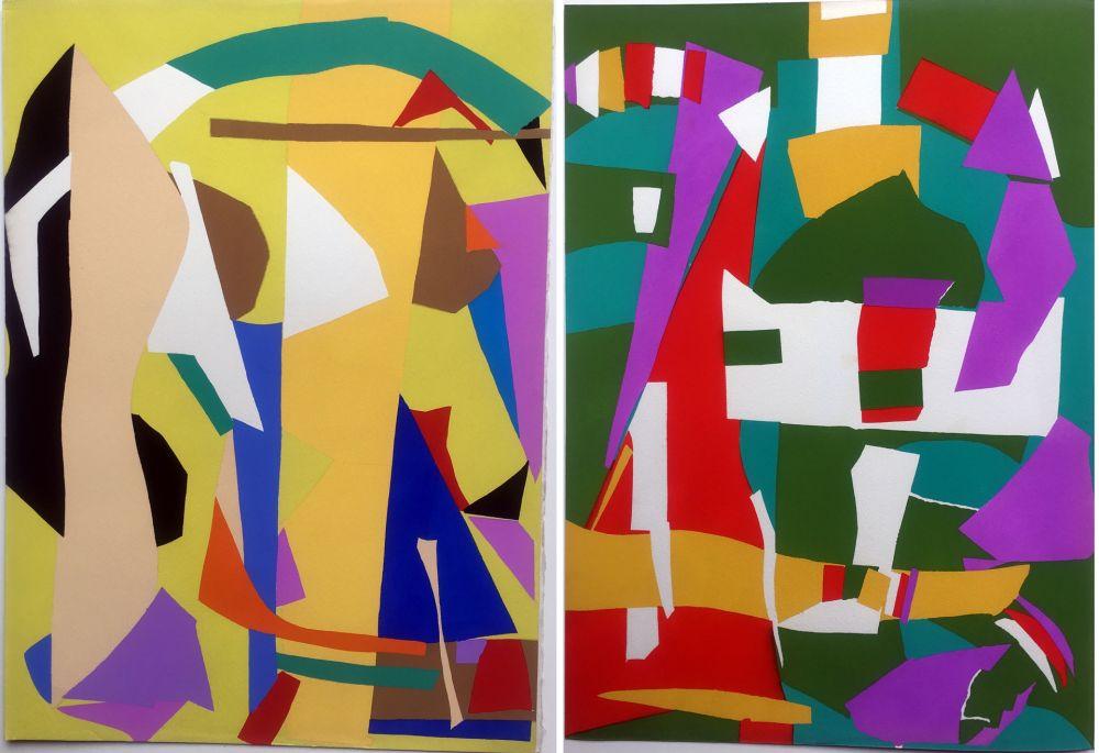 Pochoir Lanskoy - CORTÈGE. Pochoirs originaux n° 7 et n° 8 (1959)