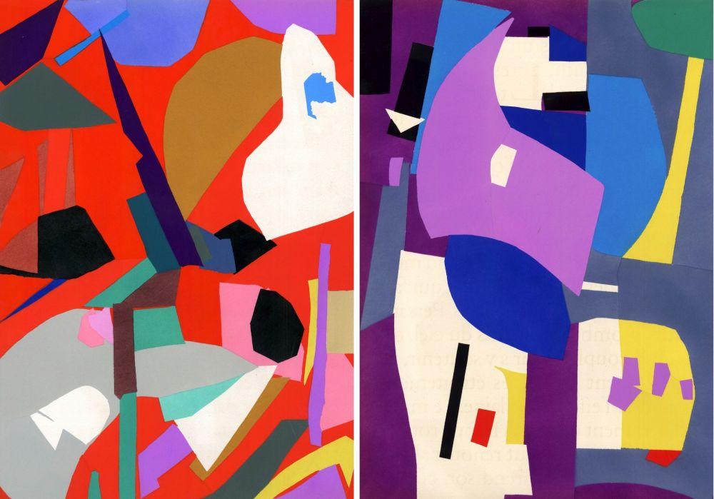 Pochoir Lanskoy - CORTÈGE. Pochoirs originaux n° 9 et n° 10 (1959)