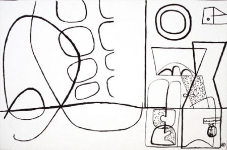 Lithograph Le Corbusier - Cortege...Jeux (b&w)