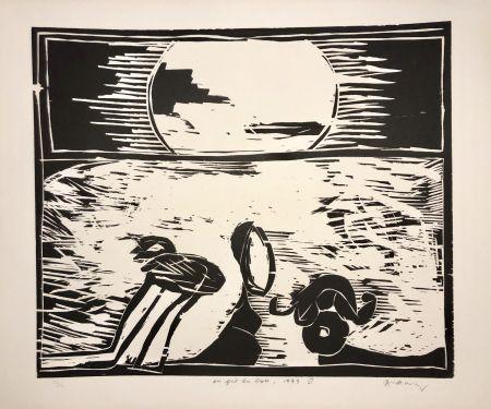 Woodcut Alechinsky - Coucher de soleil « Au fil du bois »