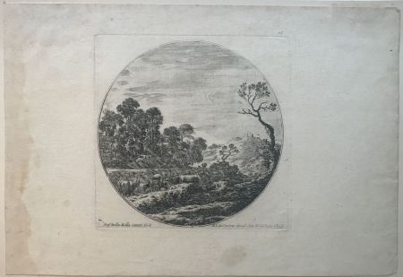 Drypoint Della Bella - Country side scene with cows