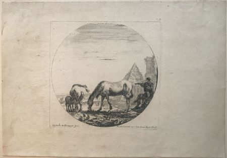 Drypoint Della Bella - Country side sene with horses