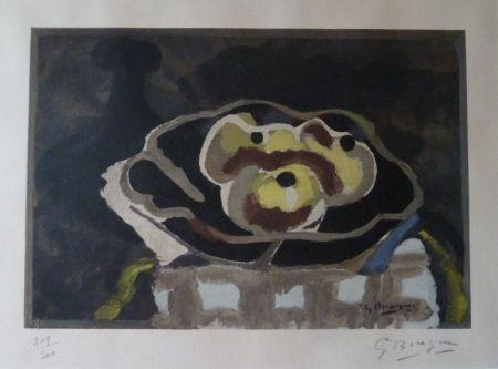 Lithograph Braque - Coupe de fruits