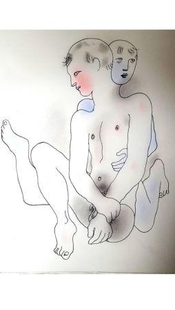 Lithograph Cocteau - Couple