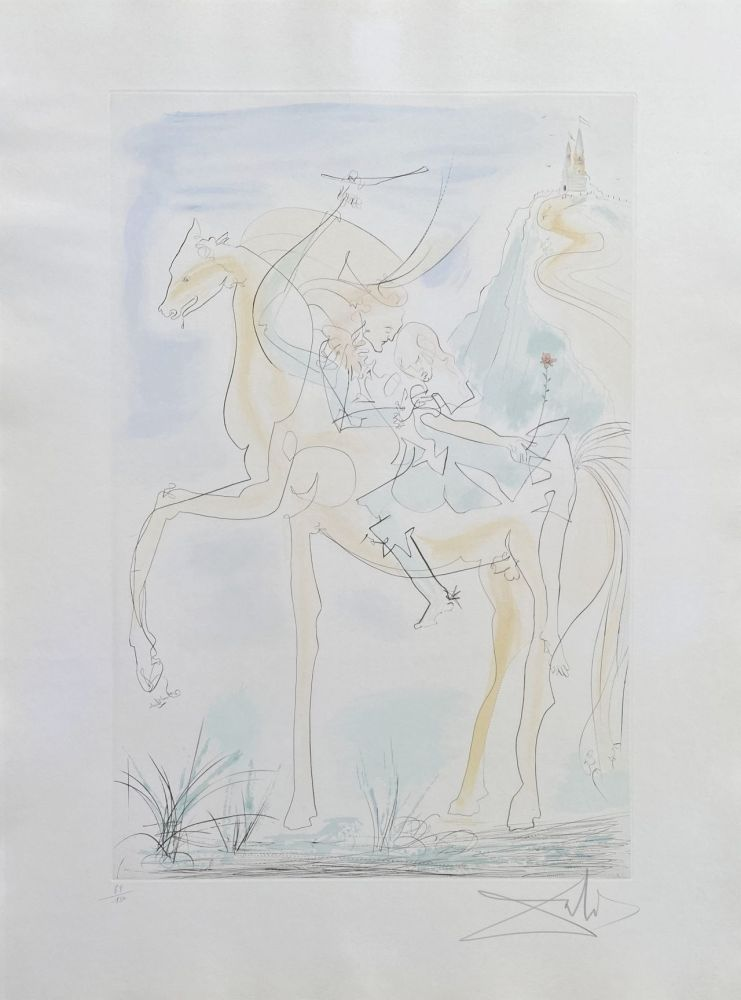 Etching Dali - Couple à cheval