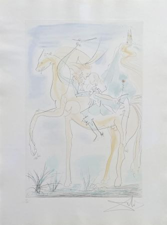 Etching Dali - Couple à cheval
