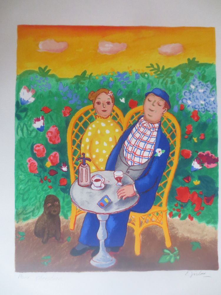 Lithograph Jirlow - Couple assis