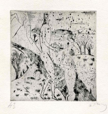 Drypoint Derain - Couple au bord du torrent. 1912.