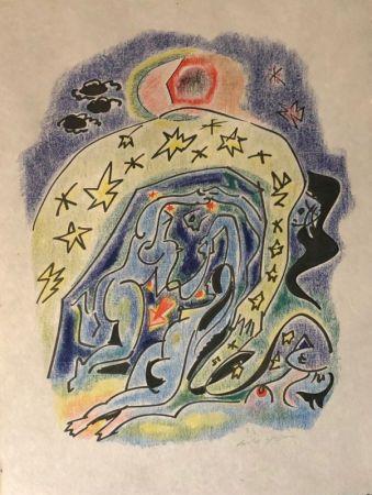 Lithograph Masson - Couple aux étoiles