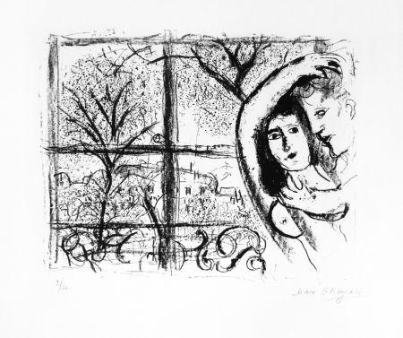 Lithograph Chagall - Couple dans la fenête