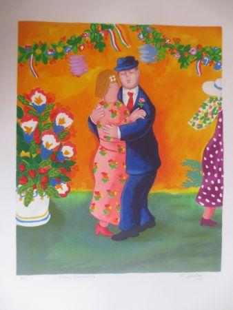 Lithograph Jirlow - Couple dansant