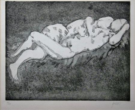 Lithograph Olovson - Couple enlacé