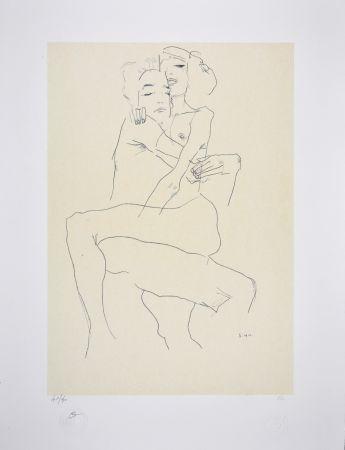 Lithograph Schiele - Couple enlacé / couple embracing - 1911
