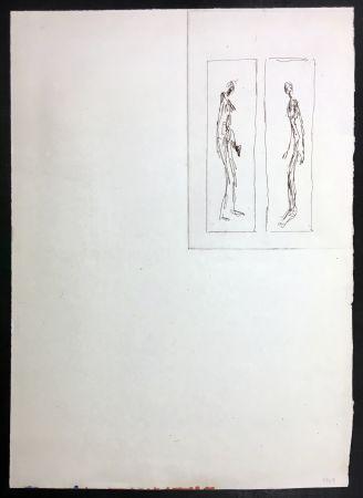 Engraving Giacometti - Couple face à face (Iliazd: Poésie de Mots Inconnus. 1949)