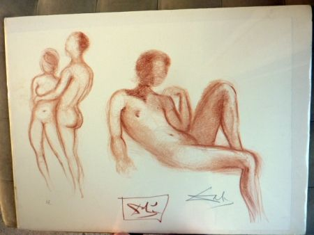 Lithograph Dali - Couple Nus