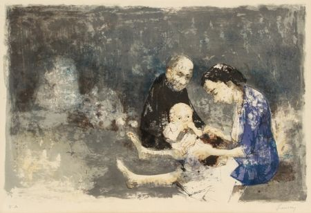 Lithograph Jansem - Couple with baby