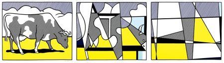 Screenprint Lichtenstein - Cow going abstract