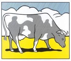 Screenprint Lichtenstein - Cow going abstract tryptique part 1