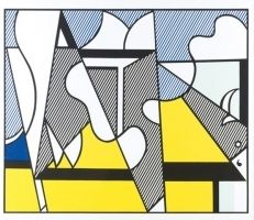 Screenprint Lichtenstein - Cow going abstract tryptique part 2
