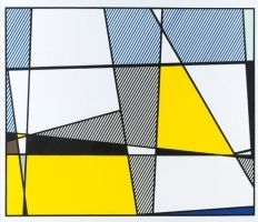 Screenprint Lichtenstein - Cow going abstract tryptique part 3