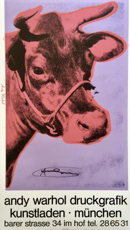 Screenprint Warhol - 'Cow Wallpaper (Purple)' Hand Signed Exhibition Poster