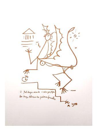 Lithograph Cocteau - Créature Surréaliste