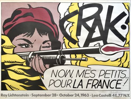 Lithograph Lichtenstein - Crak! Hand Signed Exhibition Poster 1963