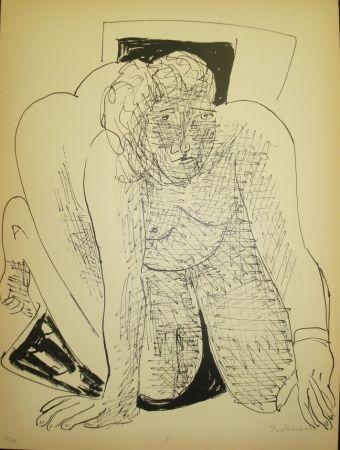 Lithograph Beckmann - Crawling Woman