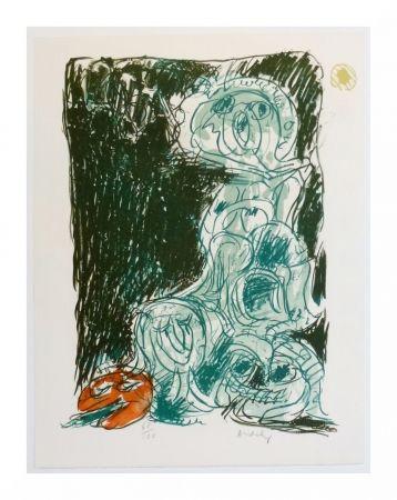 Lithograph Alechinsky - Crayon sur coquille - Le hasard et sa mère