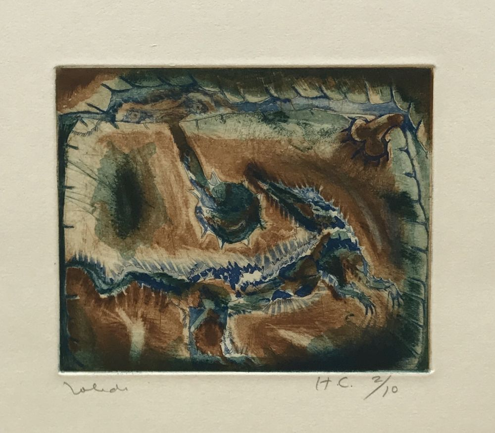 Etching Toledo - Crocodile in Blue and Green