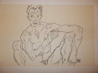 Lithograph Schiele - Crouching male nude 1918