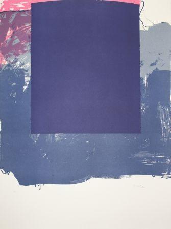 Lithograph Borrell Palazón - Cuadrado azul (Blue Square)