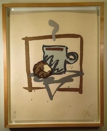 Woodcut Oldenburg - Cup of Joe with Donut