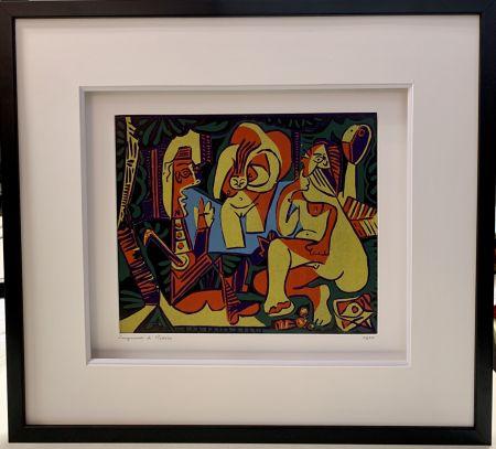 Linocut Picasso - Déjeuner sur l'herbe