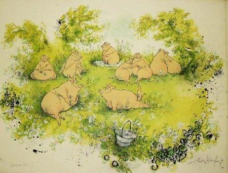 Lithograph Searle - Déjeuner sur l'herbe