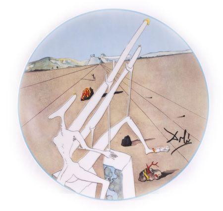 Ceramic Dali - Dali Martien Muni D'un Double Microscope Holo-Électrique (La Conquête Du Cosmos)