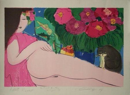 Lithograph Ting - Dame Au Chat Noir