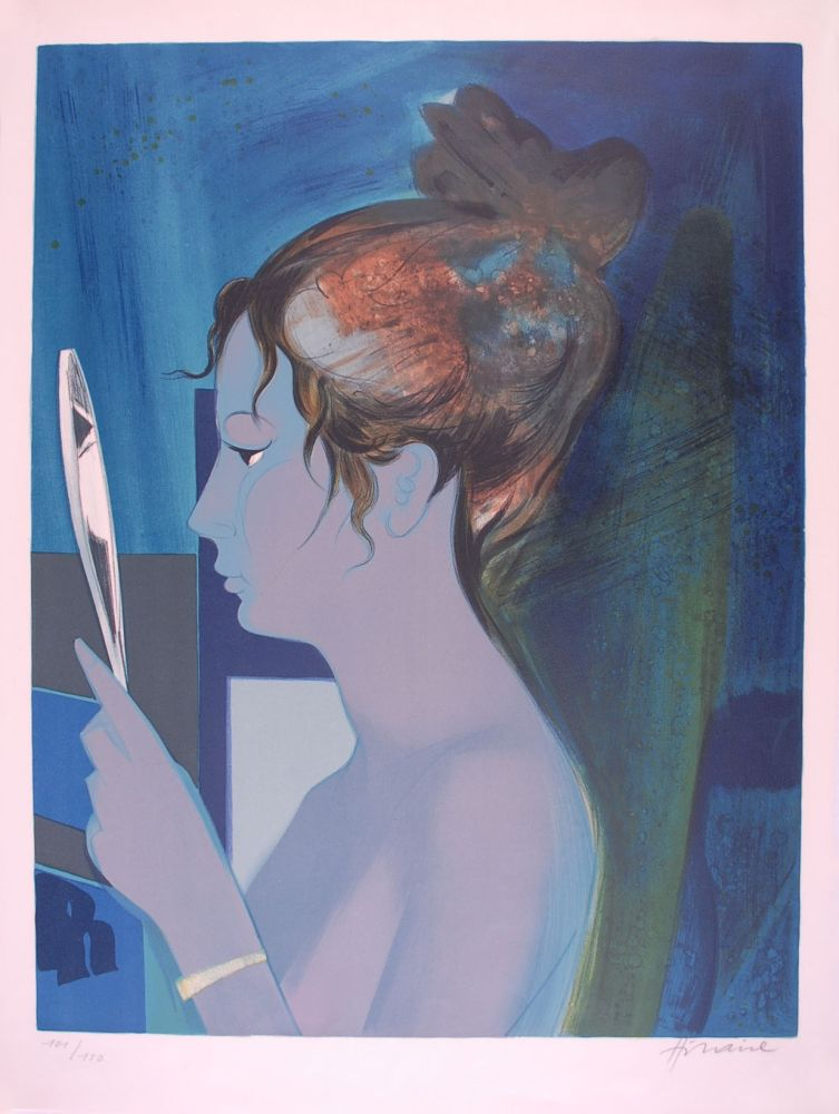 Lithograph Hilaire - Dame au miroir