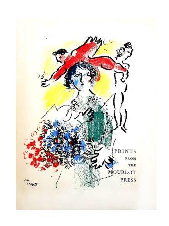 Lithograph Chagall - Dame aux fleurs