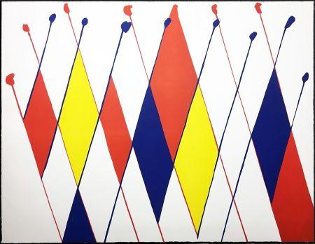 Lithograph Calder - Damier de losanges bleus jaunes rouges (1966).