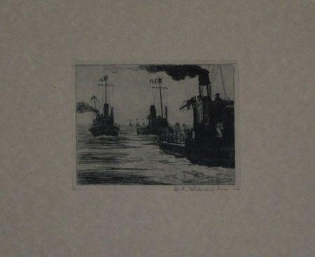 Etching Hübner - Dampfschiffe / Steamboats