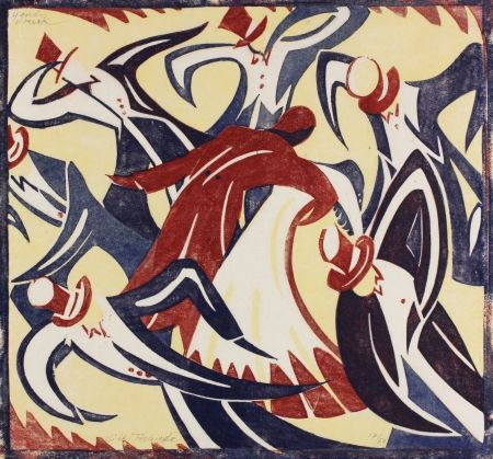 Linocut Tschudi - Dancers