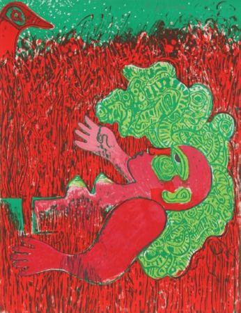 Lithograph Corneille - Dans l'infinie verticalite de l'herbe la femme